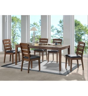 Dojio 1+6 Solid Rubber Wood With Glass Top Dining Set