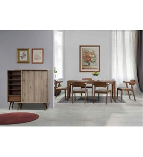 Dongo 1+6 Solid Rubber Wood Dining Set