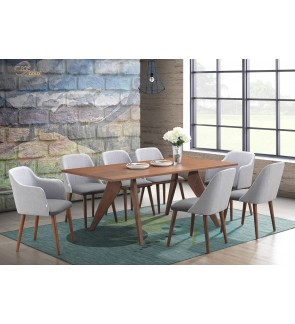 Fileon Dining Set 1+8 Solid Rubber Wood