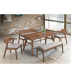 Funcone 1+6 Solid Rubber Wood Dining Set